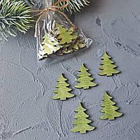 Деревянный декор деревянные елочка зеленая заготовки вырубка для скрапбукинга декора 3x2.5 см 12 шт