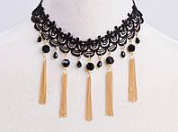 Новинка! Модное популярное женское кружевное ожерелье, украшенное цепочками золотистого цвета и бусинами