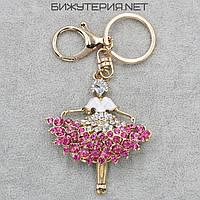 Брелок JB Девушка металл золотого цвета с розовыми и белыми стразами - 1066655384