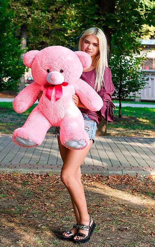 Плюшевый Мишка Томми 100см Все Цвета Мишка игрушка Плюшевый медведь Мягкие мишки игрушки Ведмедик (Розовый)