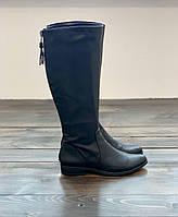 Женские черные сапоги из натуральной кожи известного бренда Calvin Klein оригинал, фото 1