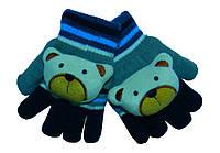 Веселые детские перчатки с мишками для малышей. Миленькие и теплые. Бренд Prahar. Цвет синий с серым.
