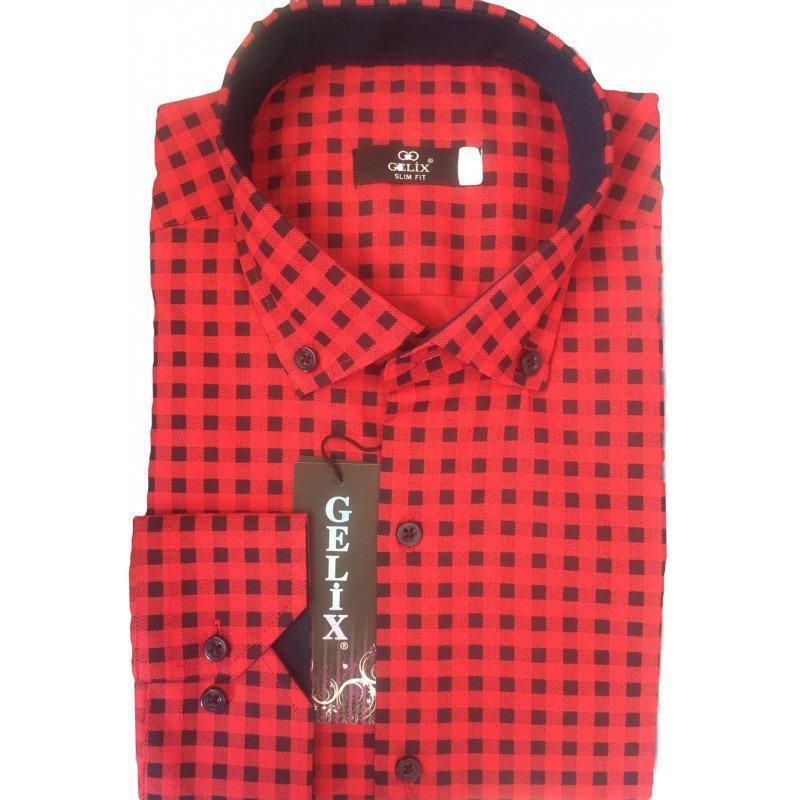 Рубашка мужская G 1276003 в клетку красная