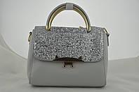 Блестящая серая маленькая сумочка женская, фото 1