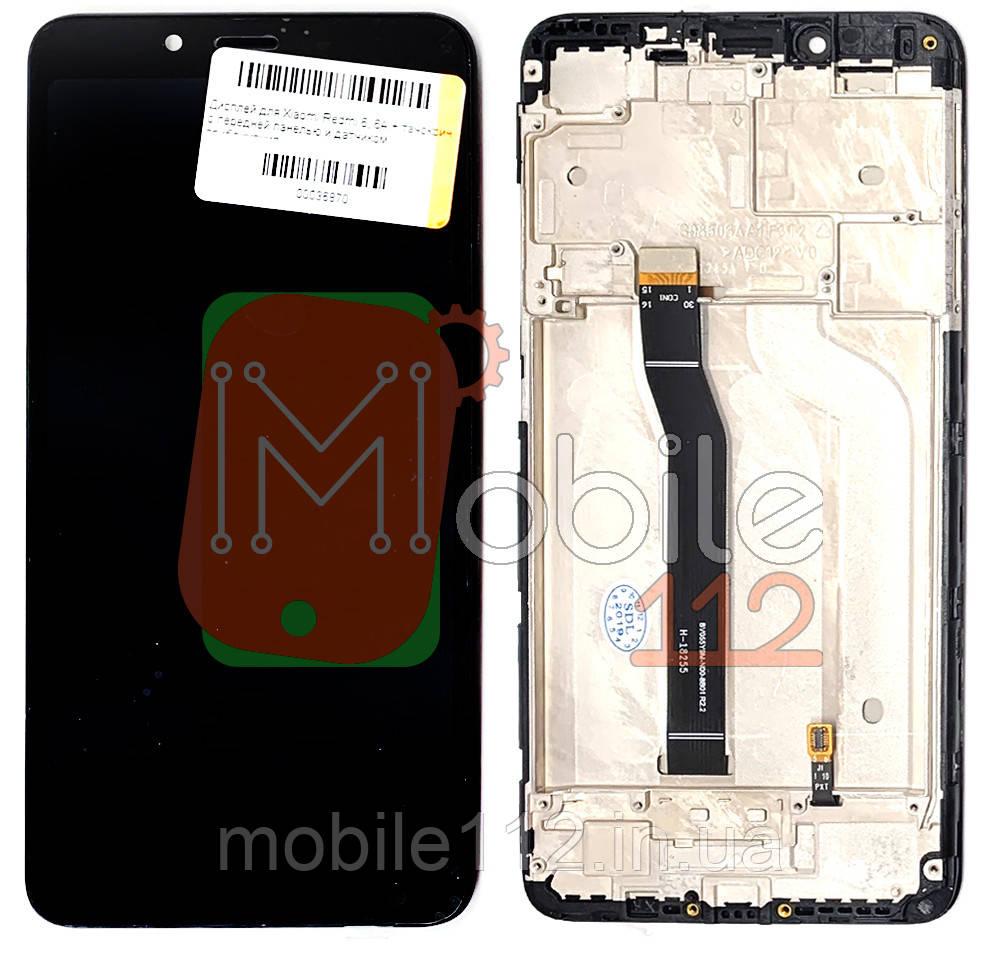 Модульный дисплей Xiaomi Redmi 6, Redmi 6A экран + тачскрин черный с передней панелью / рамкой