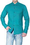 Рубашка мужская G 1276002 в клетку зеленая, фото 6
