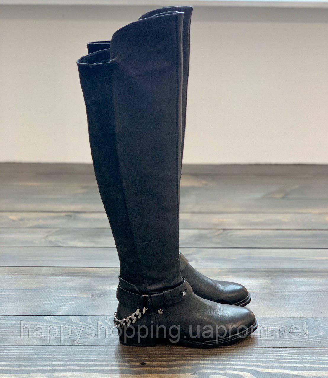 Женские черные кожаные сапоги ботфорты на плоском ходу Dolce Vita