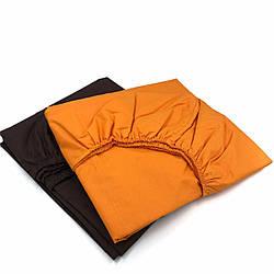 Простынь на резинке двуспальная 180х200х18 оранжевая черная однотонная из бязи голд