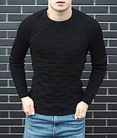 Мужской черный свитер, зимний мужской свитер