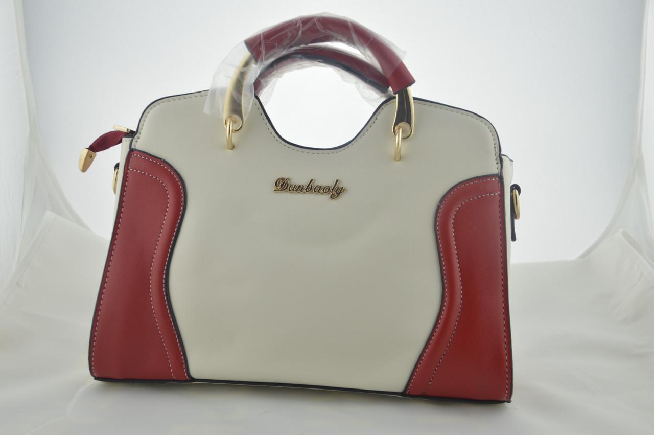 Белая женская сумка с красными вставками эко кожа, фото 1