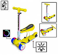 Детский самокат Scooter 3 в 1 Yellow. Складная ручка. Cо светом и музыкой! Широкие колеса