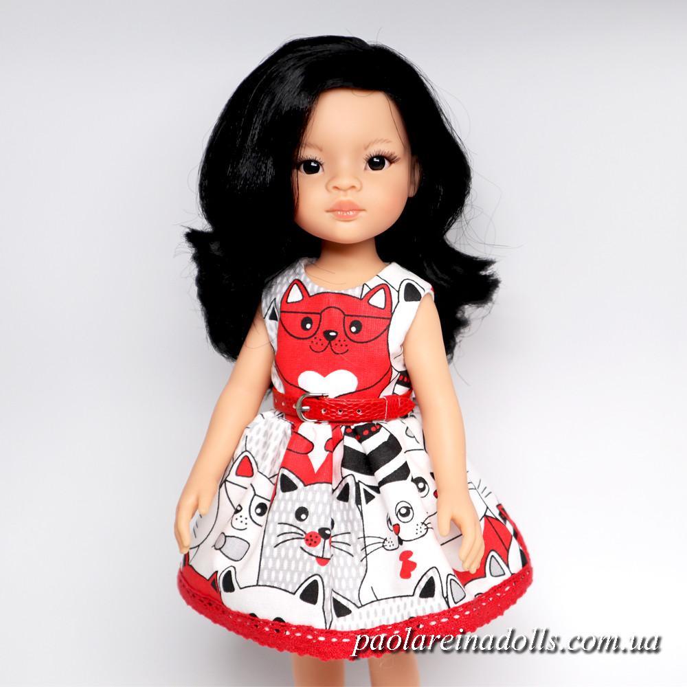 """Платье """"Веселые красные котики"""" для кукол Паола Рейна"""