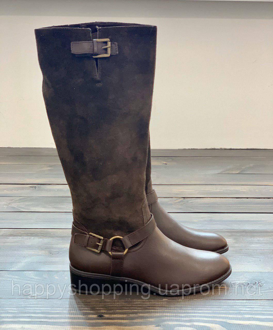 Женские демисезонные коричневые сапоги из натуральной кожи/замши  американского бренда Ralph Lauren оригинал, фото 1