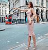 Бандажное сексуальное платье футляр миди с декольте бежевое пудровое нюд красное черное, фото 4