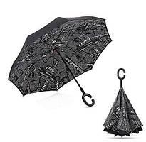 Зонт наоборот Up-Brella Черная газета