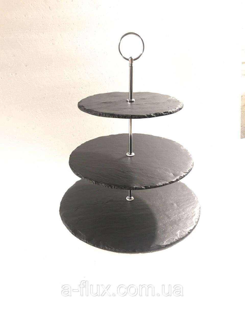 Пирамида 3-хярусная круглая (19,5х25х30см) сланец Н37см  Украина 002381