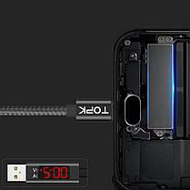 ❉Кабель синхронизации Topk Display USB 1m 2.4A (TK27U-VER2) Type-C Black с индикатором нейлоновый, фото 3