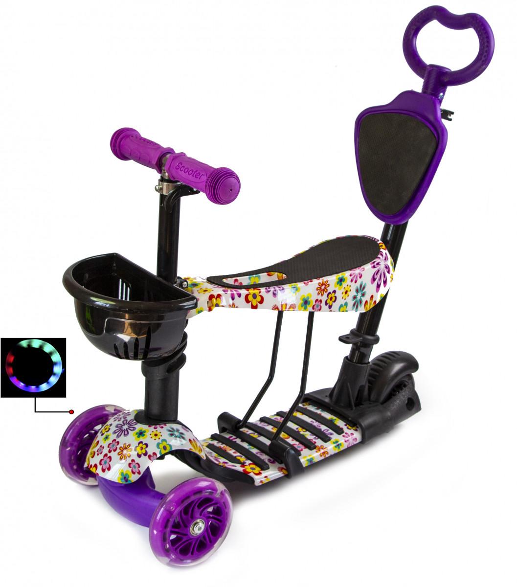 Детский самокат Scooter 5 в 1 Фиолетовый Цветочек с рисунком и родительской ручкой