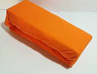 Простыня на резинке Евро 200*200,220 оранжевая, Хлопок, трикотажная