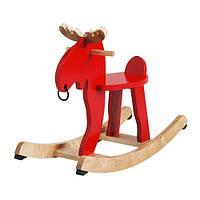 """IKEA """"ЭКОРРЭ"""" Лось-качалка, красный, каучуковое дерево"""