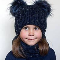 Детский шарф-хомут Фея. Блестящая пряжа, внутри полностью на флисе. р. 52-56 (4-12 лет) Сезон: зима