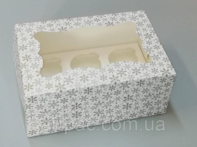 Коробка для 6-ти кексів 250*170*110 (з віконцем) принт ЗИМА