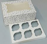 Коробка для 6-ти кексів 250*170*110 (з віконцем) принт ЗИМА, фото 2