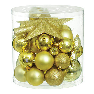 Набір новорічних прикрас, 40 шт. в асортименті, золотий