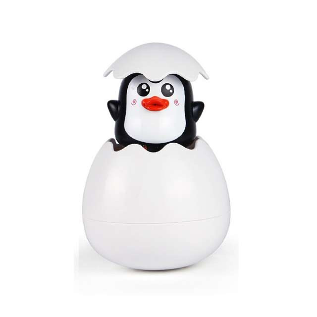 Лейка игрушка в ванную Яйцо. Пингвин чёрный, пингвин бирюзовый
