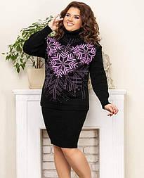 Теплий светр зі сніжинками «Казка» чорний+бузковий