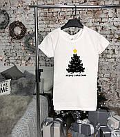 Женская белая футболка Meow Christmas
