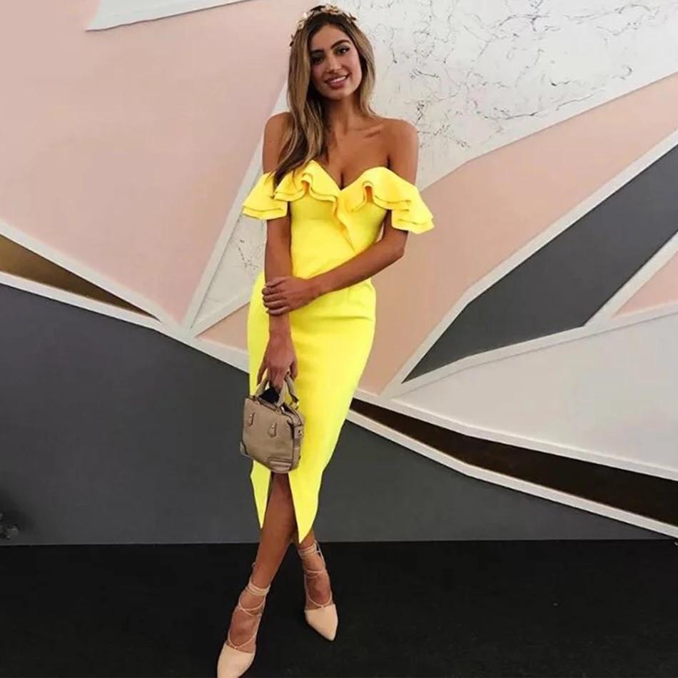 Бандажное нарядное платье миди с воланами оборками декольте и открытыми плечами желтое черное белое