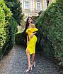 Бандажное нарядное платье миди с воланами оборками декольте и открытыми плечами желтое черное белое, фото 9