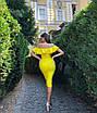 Бандажное нарядное платье миди с воланами оборками декольте и открытыми плечами желтое черное белое, фото 8