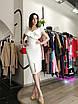 Бандажное нарядное платье миди с воланами оборками декольте и открытыми плечами желтое черное белое, фото 6