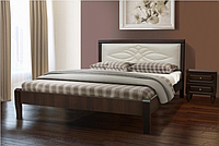 Деревянная двухспальная кровать с мягким изголовьем - Скиф (1,6м)