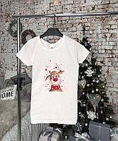 Женская белая футболка с оленем