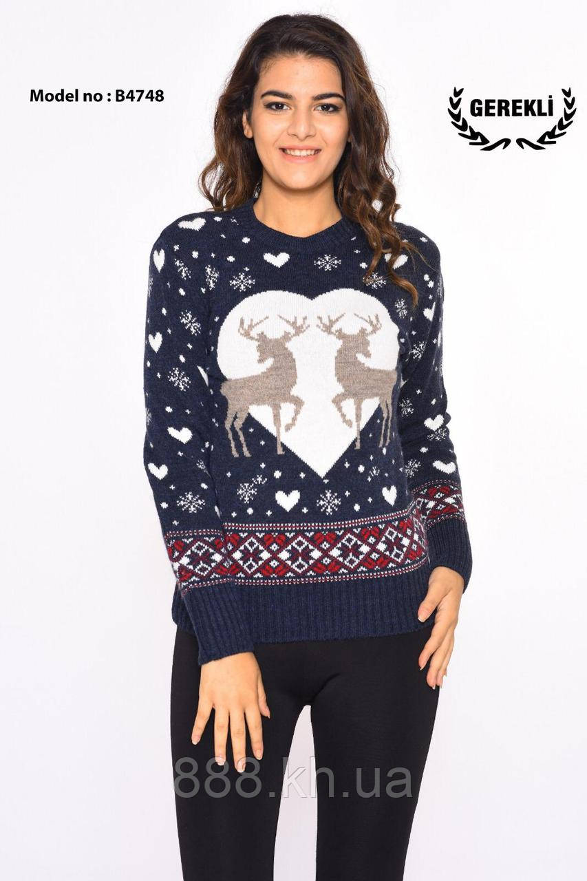 Чудесный теплый шерстяной женский свитер  (вязка)