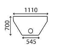 Стекло заднее нижнее экскаватора погрузчика Ford 555B, 555C, 555D, 575D, 655C, 655D, 675D