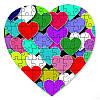 Магнитный пазл в форме сердца - 50 сердец 190х190 мм