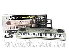 Детский синтезатор MQ-6168 с микрофоном, 61 кл, радио, от сети (батареек), в коробке