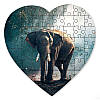 Магнитный пазл в форме сердца - Слон 190х190 мм