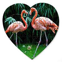 Магнитный пазл в форме сердца - Влюбленные фламинго 190х190 мм