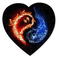 Магнитный пазл в форме сердца - Инь и Янь огонь и вода 190х190 мм