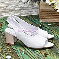 Женские кожаные босоножки на невысоком каблуке, цвет белый. 37 размер