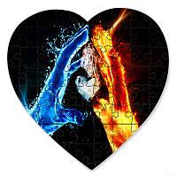 Магнитный пазл в форме сердца - Любовь воды и огня 190х190 мм