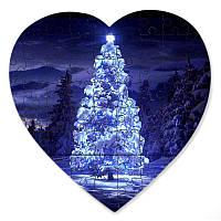 Магнитный пазл в форме сердца - Неоновая елка 190х190 мм