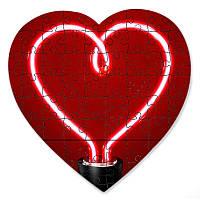 Магнитный пазл в форме сердца - Сердце лампочка 190х190 мм