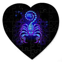 Магнитный пазл в форме сердца - Скорпион 190х190 мм