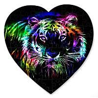 Магнитный пазл в форме сердца - Таинство тигра 190х190 мм